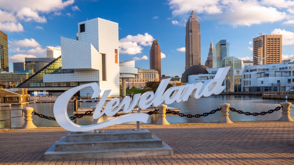A Cleveland script sign at the Lake Erie waterfront overlooking Downtown Cleveland.