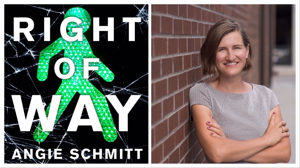 """A green-colored pedestrian walk symbol as seen through a cracked windshield featured on the cover of Angie Schmitt's book """"Right of Way: Race, Class, and the Silent Epidemic of Pedestrian Deaths in America"""""""