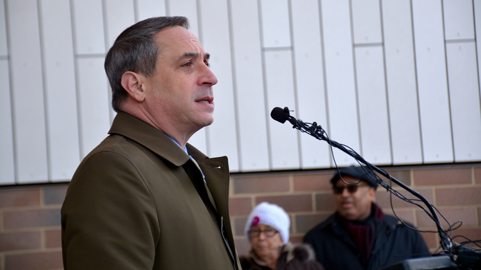 Cleveland City Councilman Matt Zone, seen here at the opening of the new city kennel in his ward in 2019, will step down from elected office this November.