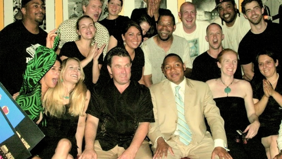Brendan Ring and the Nighttown staff posing with trumpeter Wynton Marsalis