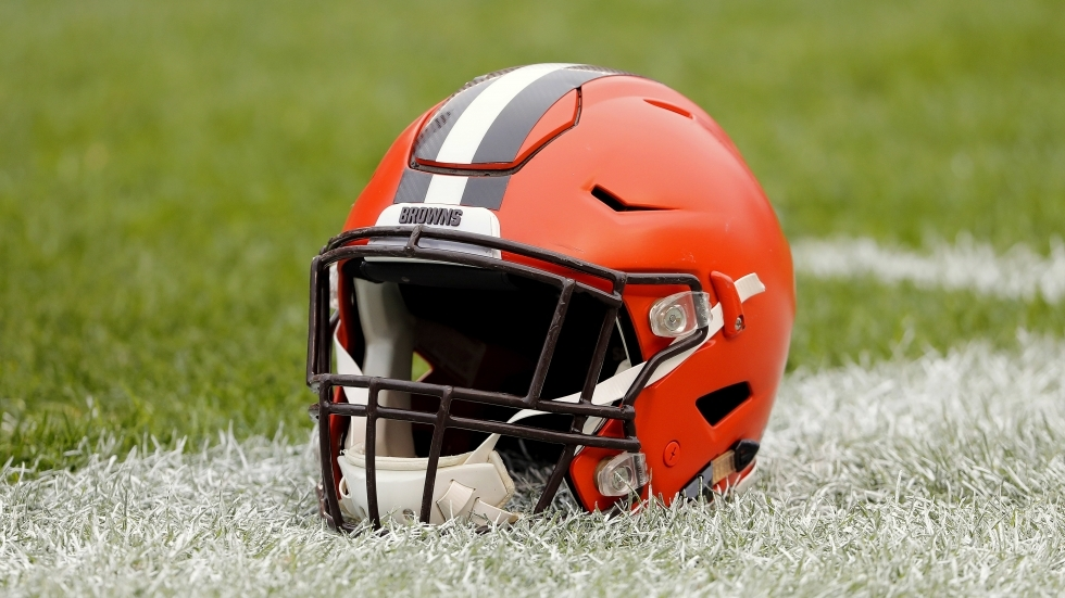 A Cleveland Browns helmet is seen before an NFL football game between the Pittsburgh Steelers and the Cleveland Browns at Heinz Field, Sunday, Oct. 28, 2018 in Pittsburgh.