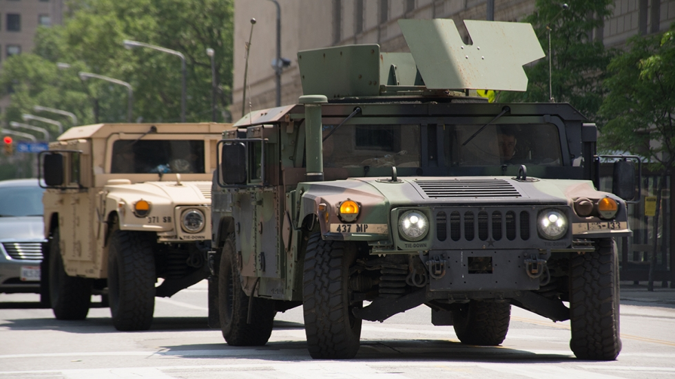 Ohio National Guard armored Humvees drive through Downtown Cleveland on June 5, after being called up in the wake of May 30 demonstrations.