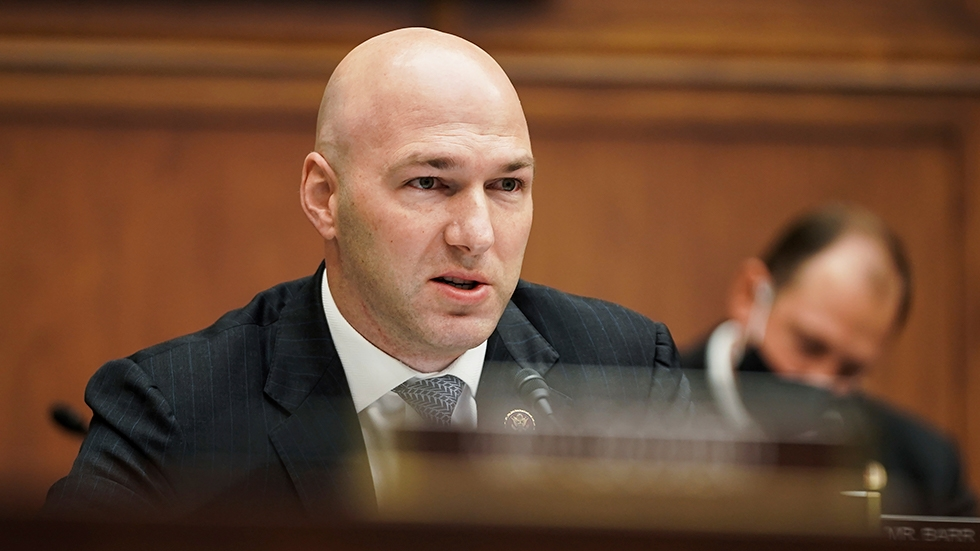 Rep. Anthony Gonzalez, R-Ohio, speaks during a House Financial Services Committee hearing on Capitol Hill in Washington, Wednesday, Dec. 2, 2020.