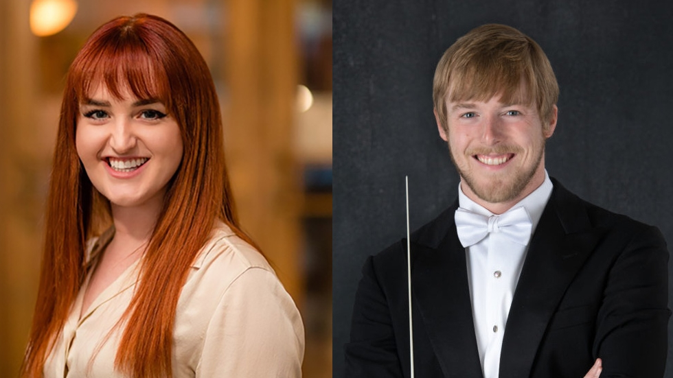 Canton Symphony Orchestra podcast hosts education manager Rachel Hagemeier and assistant conductor Matthew Jenkins Jaroszewicz [Canton Symphony Orchestra]