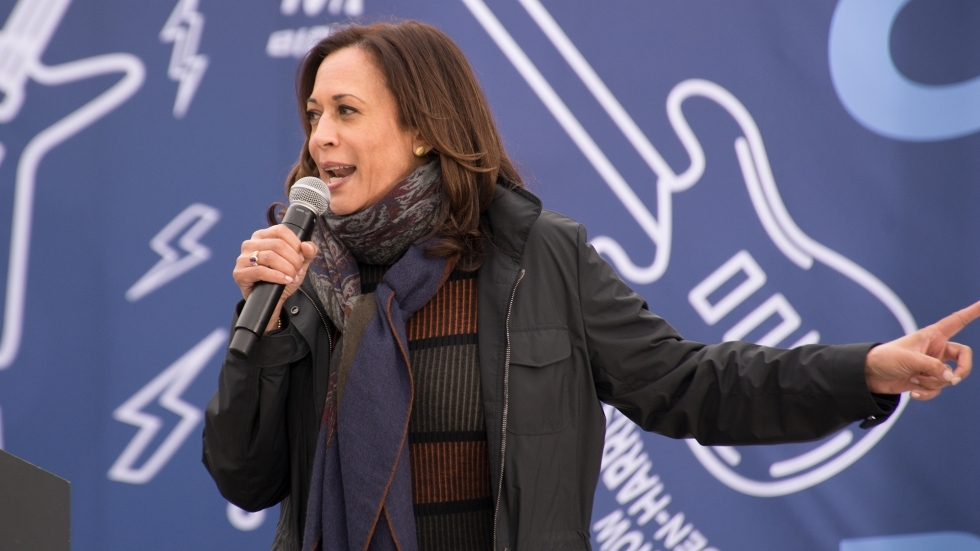 Kamala Harris speaking at a campaign event in Cleveland in October 2020.