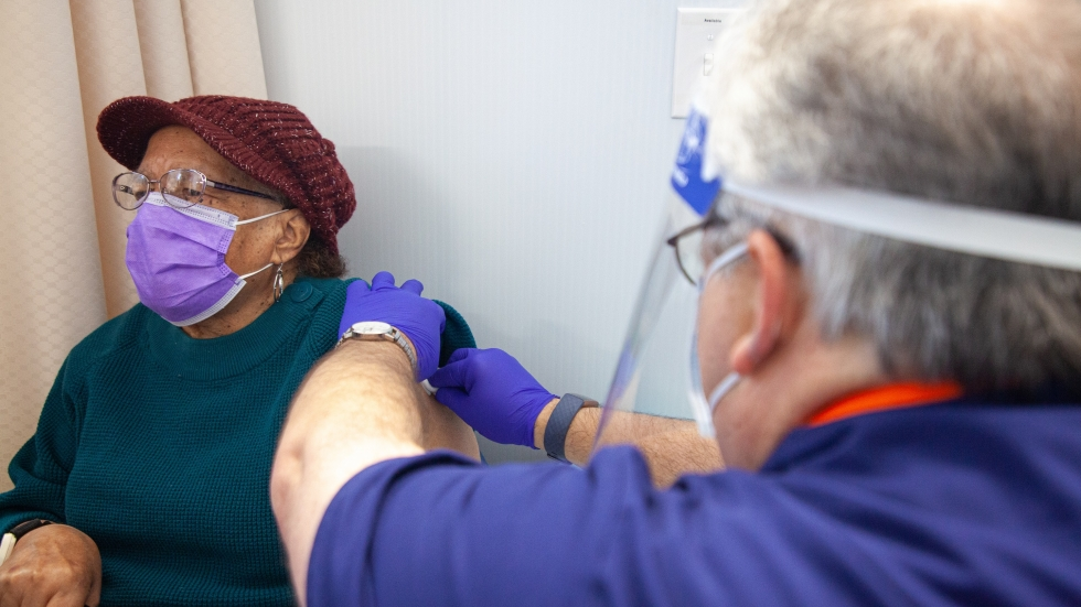 90-year-old Jether Tiller of Maple Heights received the COVID-19 vaccine at University Hospitals on Jan.19, 2020. Cleveland's Black residents make up about half of the city's population but during the virus' first peak in July, 73 percent of hospitalized patient and 60 percent of the deaths were among Black residents. [University Hospitals]