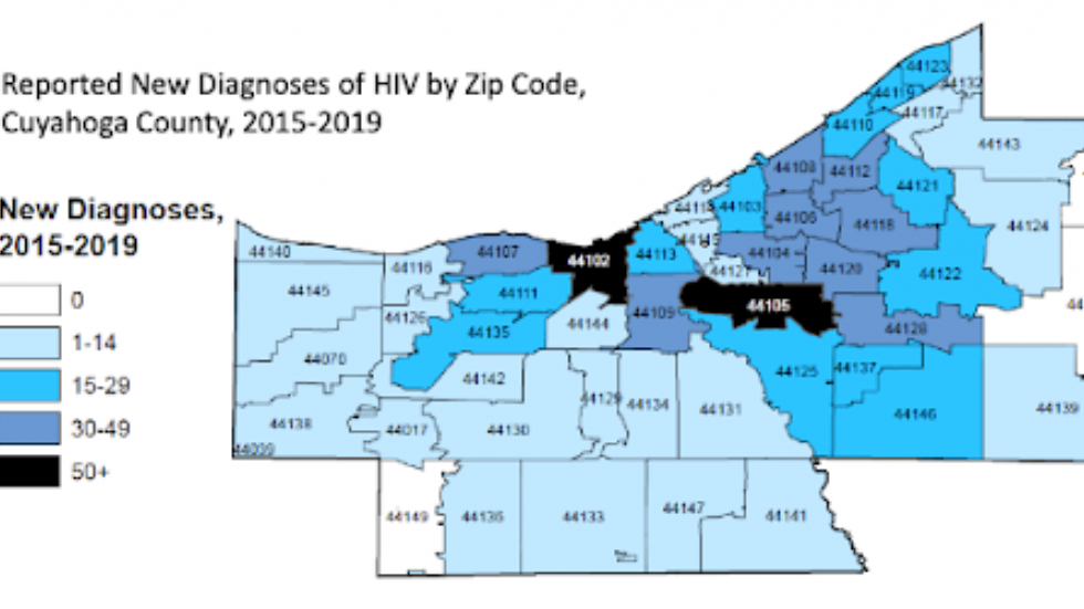 Two Cleveland ZIP codes have the most new reported HIV diagnoses between 2015 and 2019.