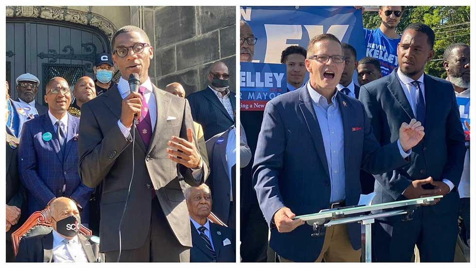 Justin Bibb outside a church in Cleveland. Kevin Kelley at an outside podium beside Basheer Jones.