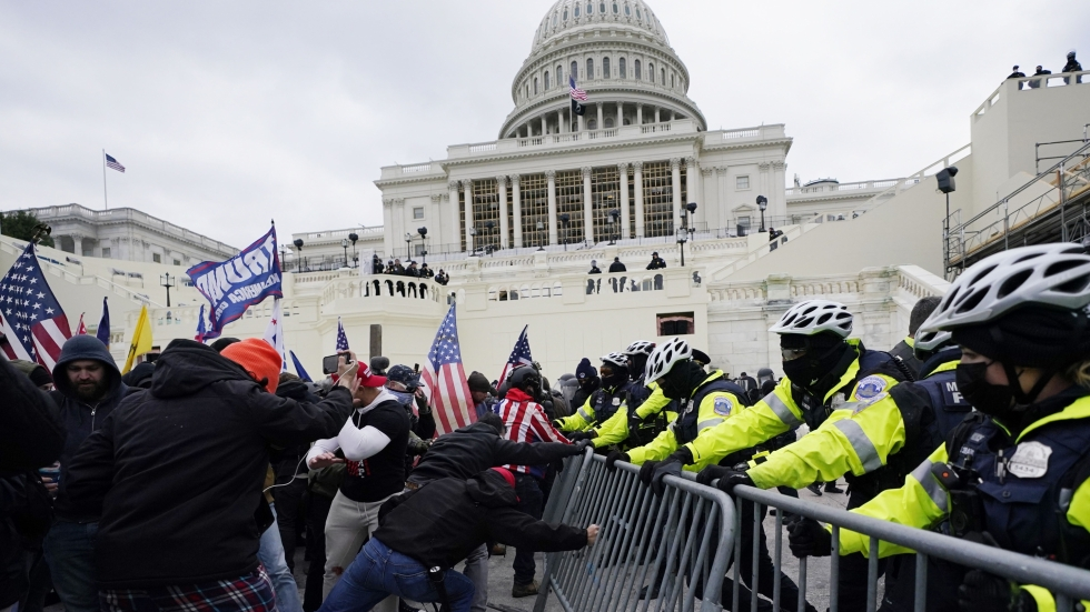 Rioters outside the U.S. Capitol on Jan. 6, 2021