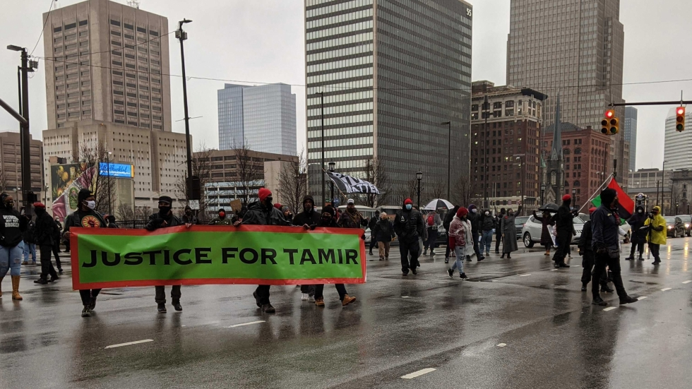 photo of Tamir Rice rally in Downtown Cleveland in January 2021