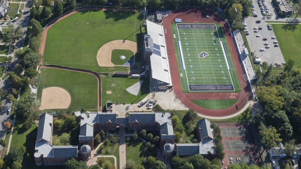 Aerial view from the Goodyear Blimp over John Carroll University in University Heights, Ohio.
