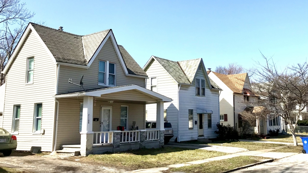 A photo shows a block of houses in Cleveland.