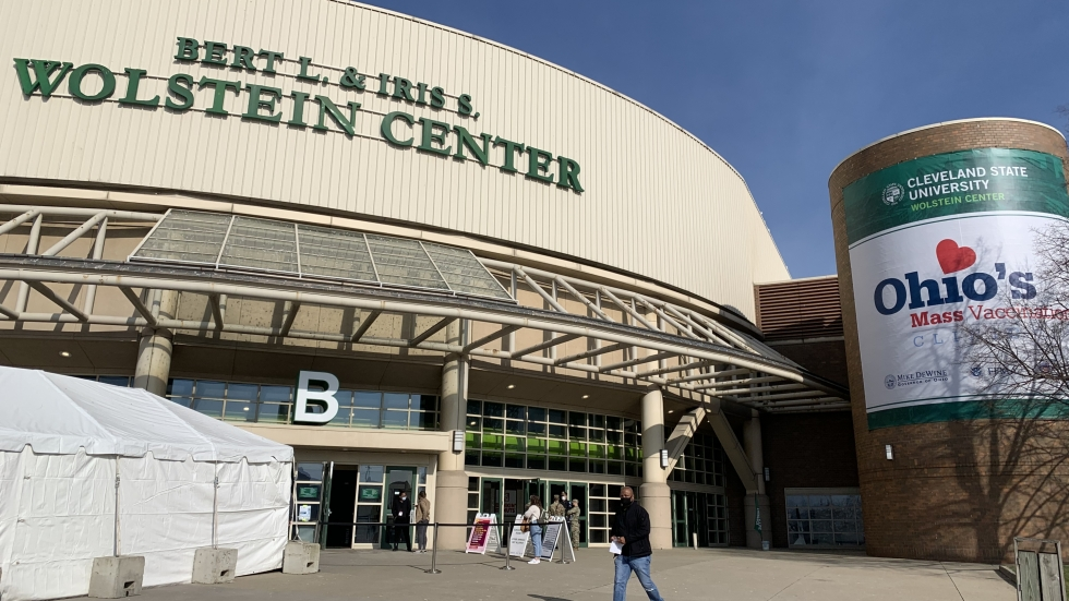 The Wolstein Center is currently administering second doses of the Pfizer vaccine. A listener asked what he should do if he has a job interview at the same time as his vaccine appointment? [Gabriel Kramer / ideastream]