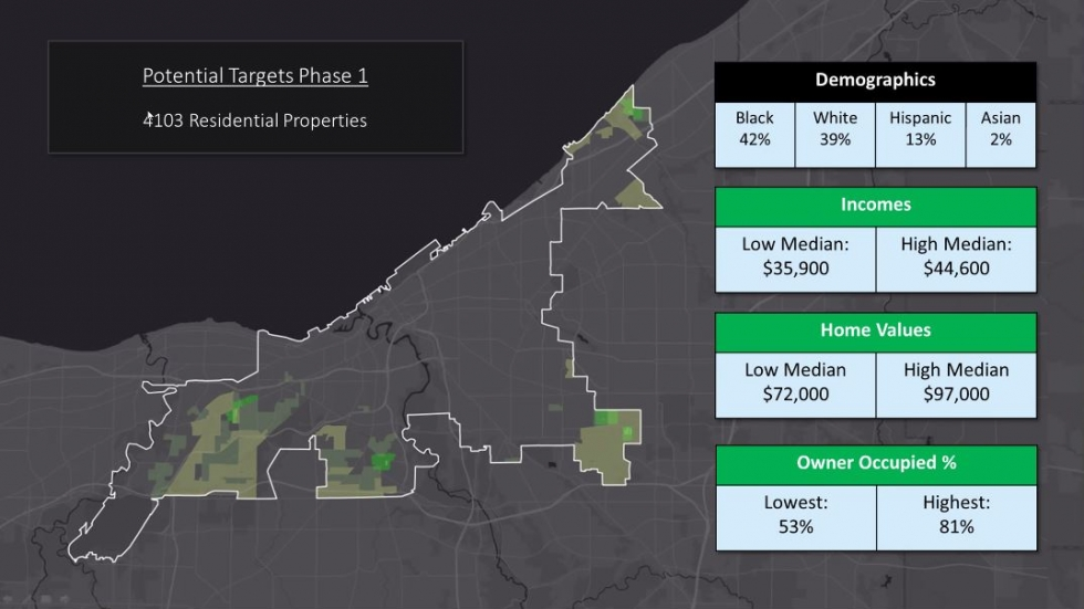 A map shows target areas in Cleveland's Middle Neighborhoods Initiative.