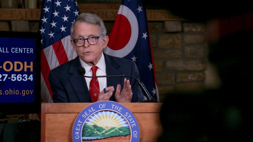 Ohio Gov. Mike DeWine gives a coronavirus briefing in January 2021.