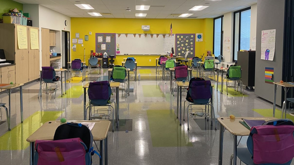 A classroom at Campus International School is set up with six feet between desks before students returned for hybrid learning in March.