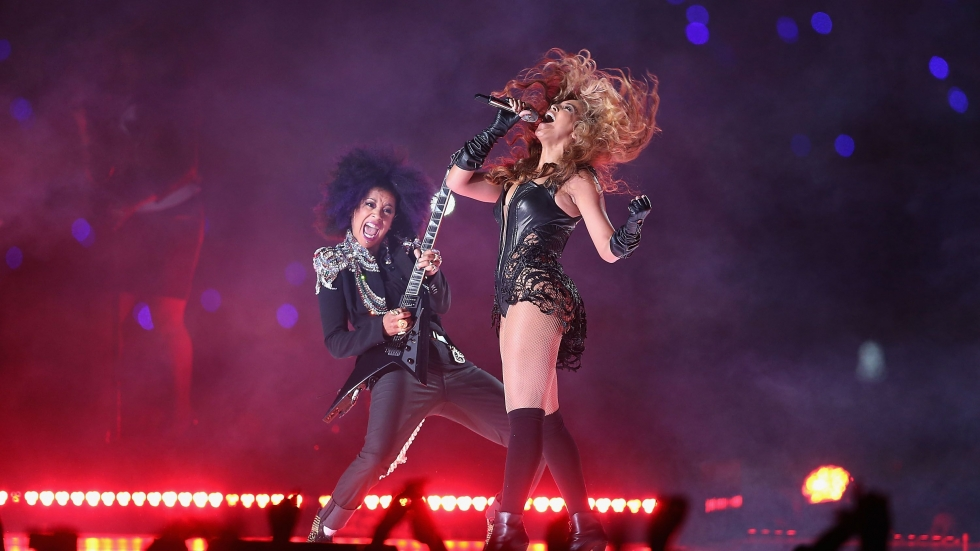 The Rock and Roll Hall of Fame exhibits Super Bowl halftime performances, including the show featuring Beyoncé and Bibi McGill.