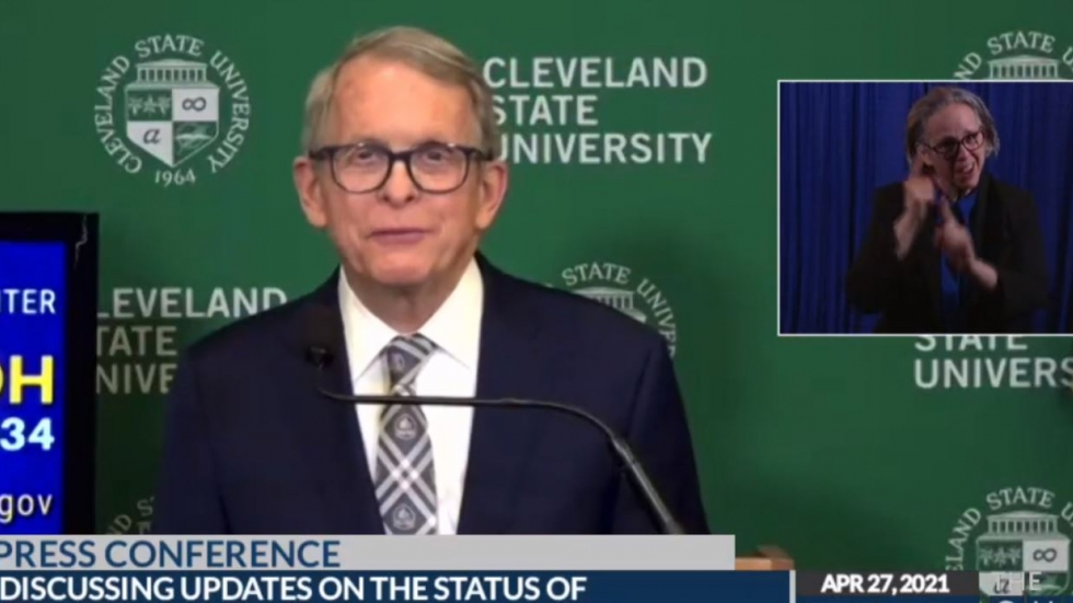Gov. Mike DeWine addressed the public from the Wolstein Center in Cleveland. [The Ohio Channel]