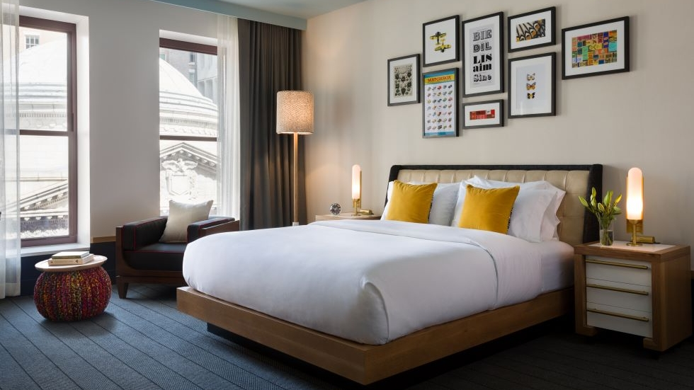 Guest rooms at the Kimpton Schofield Hotel, at East 9th Street and Euclid Avenue, overlook Downton Cleveland's historic architecture
