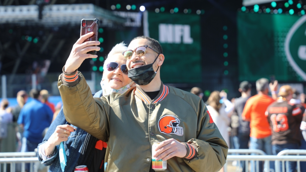 While the crowd was made up of mostly Browns fans, plenty of other NFL teams were represented as Cleveland hosted the 2021 NFL Draft.