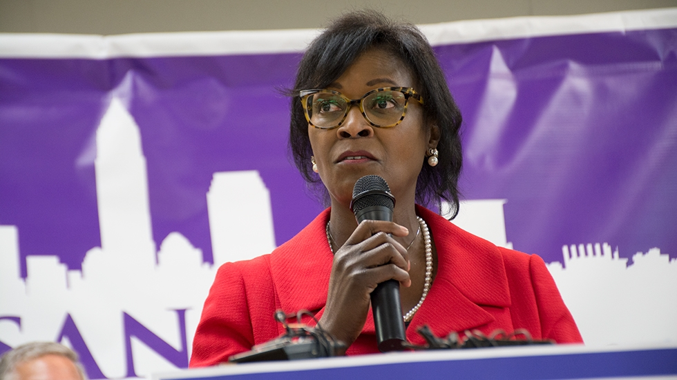 State Sen. Sandra Williams addresses supporters at her mayoral campaign kickoff Monday.