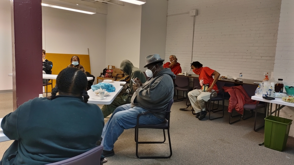 The Homeless Congress house meeting on April 16 at NEOCH's office served as the first participatory budget meeting. The in-person option accounted for access needs for those currently staying in shelters. [Loh / NEOCH]