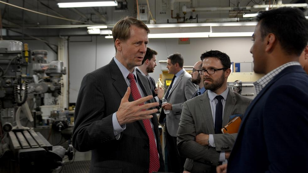 Richard Cordray on a tour of manufacturing plants during his run for Ohio Governor