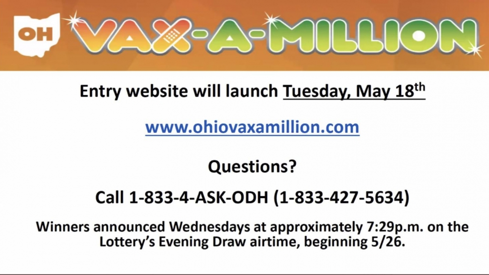 Details of Ohio's Vax-a-Million website and call-in line shared during a Monday press conference.