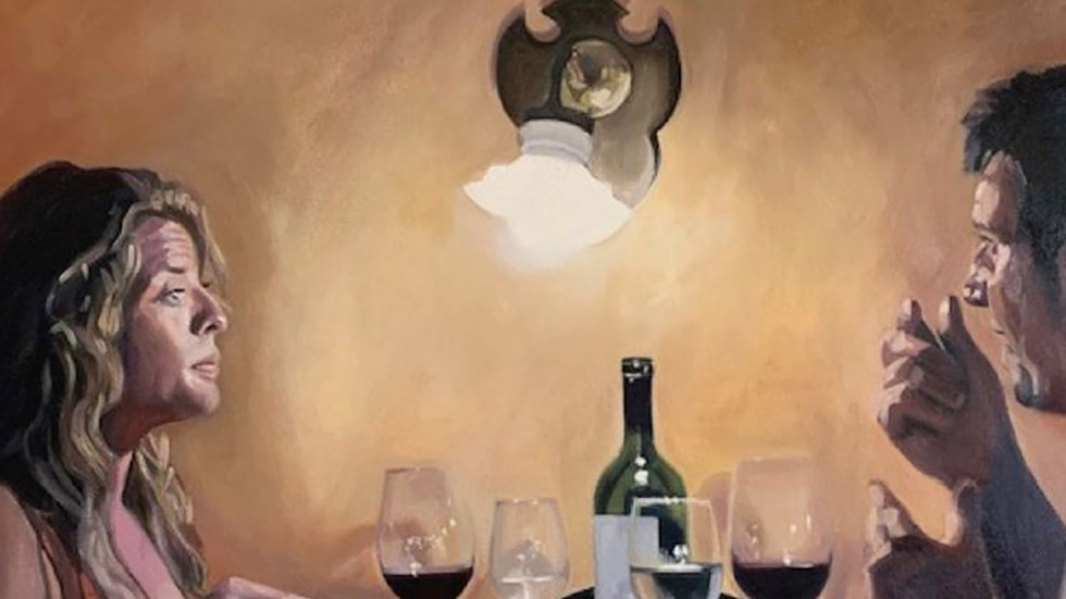 Painting of man and woman dining by Marti Jones Dixon