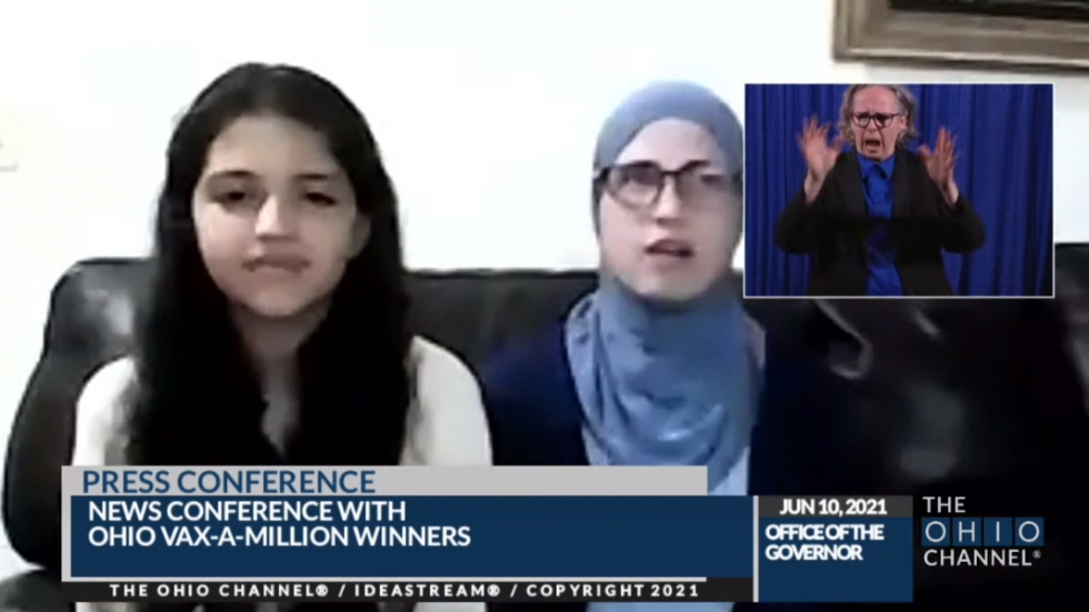 The third Vax-A-Million full-ride scholarship winner, Sara Afaneh, joins a Gov. Mike DeWine press briefing with her mom, Summer. The Afanehs are residents of Sheffield Lake in Lorain County. [The Ohio Channel]