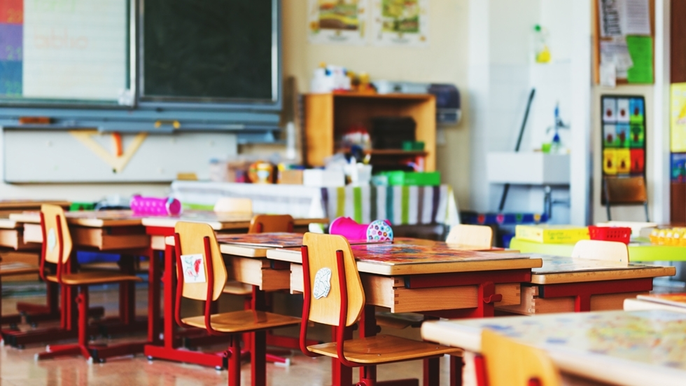 Classroom with desks and chairs