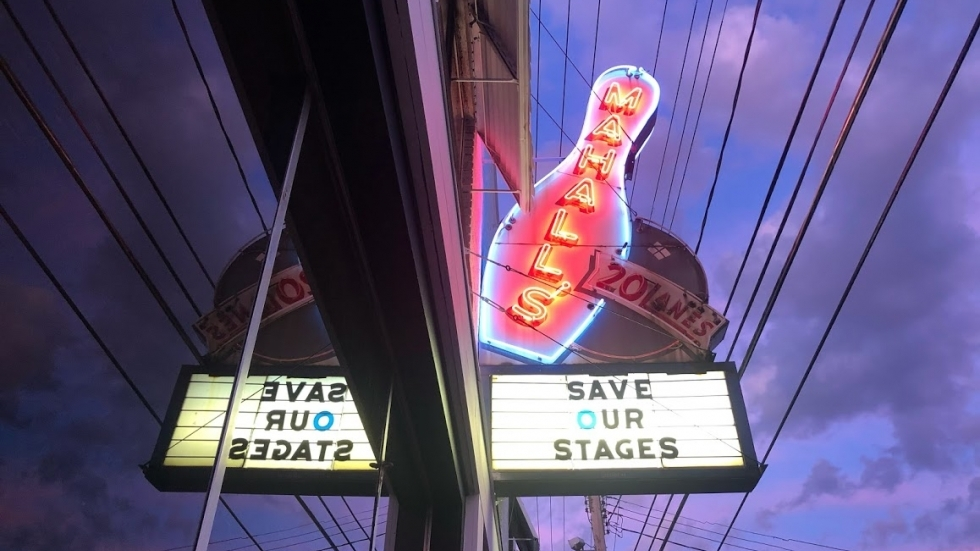 Mahall's marquee in Lakewood promoted the Save Our Stages Act. The venue wasn't one of the first approved for funding and still awaits word on its application.