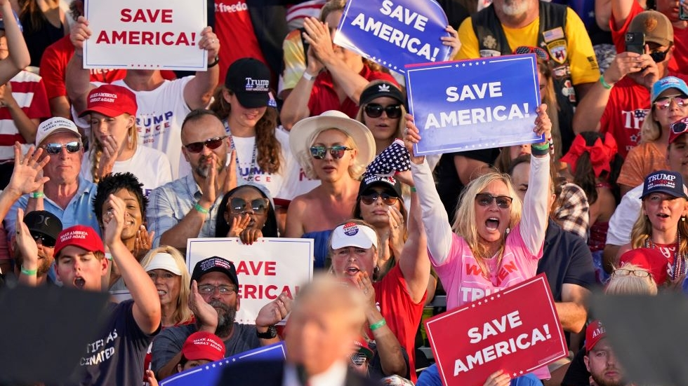 Supporters cheer as former President Donald Trump speaks at a rally at the Lorain County Fairgrounds, Saturday, June 26, 2021, in Wellington, Ohio. [Tony Dejak / AP]
