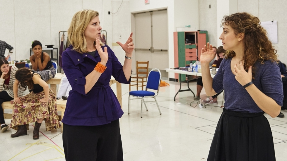 """Laura Kepley works with Katie O. Solomon on a scene from 2015's """"The Crucible."""" [Roger Mastroianni]"""