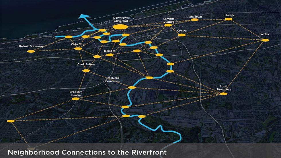A map of Cleveland that outlines connections to the river from various neighborhoods.