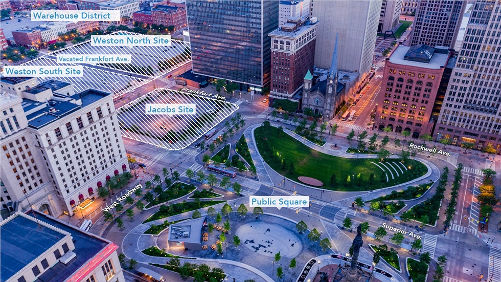 A map of the proposed site for the new HQ in Downtown Cleveland.