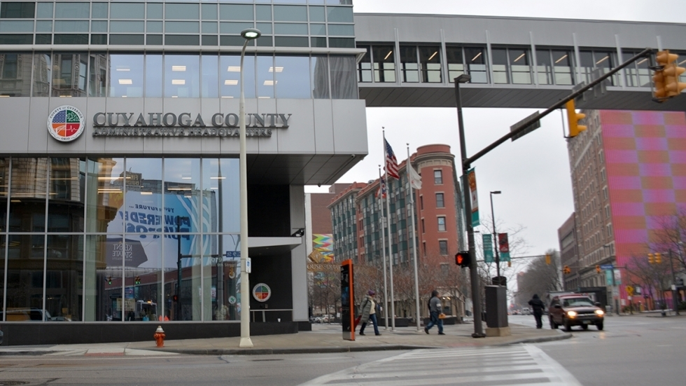 The exterior of Cuyahoga County's headquarters in Downtown Cleveland