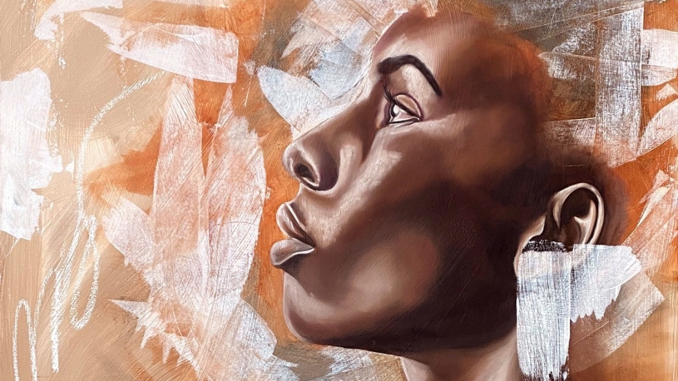 """The determined profile of a Black woman is among the works featured in an exhibit of the art of Stina Aleah, now on view at moCa Cleveland in the exhibit """"Helping"""" Hands. [""""I Cannot Hear Myself"""" by Stina Aleah]"""