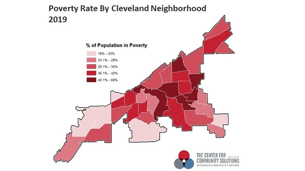 A map of the neighborhoods around Cleveland and their poverty levels.