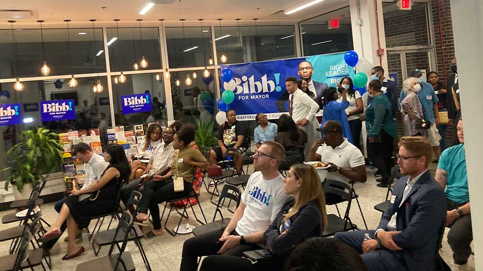 Gatherers at Justin Bibb's watch party at ThirdSpace Action Lab.