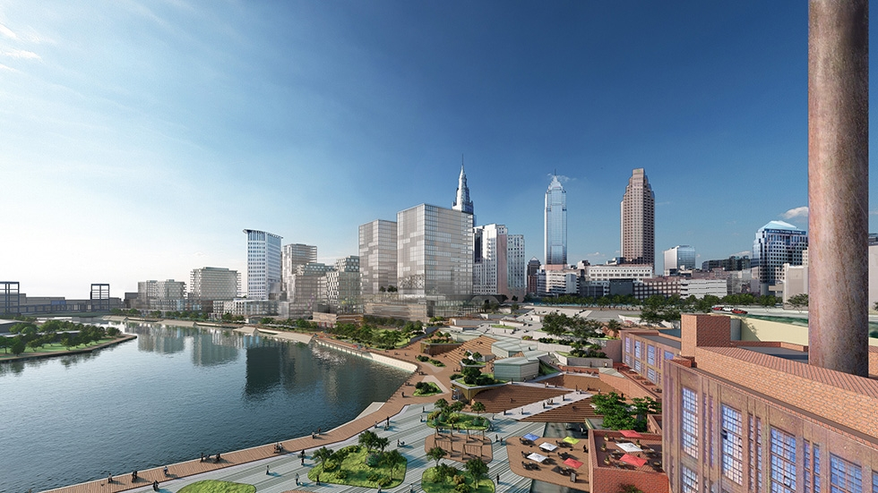 A rendering of the city of Cleveland along Cuyahoga River after the proposed redevelopment.