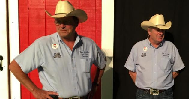 David Daniels (left) stands next to Jim Zehringer at the Sale of Champions at the Ohio State Fair in 2017. Daniels became Agriculture Director in 2012, when then-Ag Director Zehringer became Director of the Ohio Department of Natural Resources.