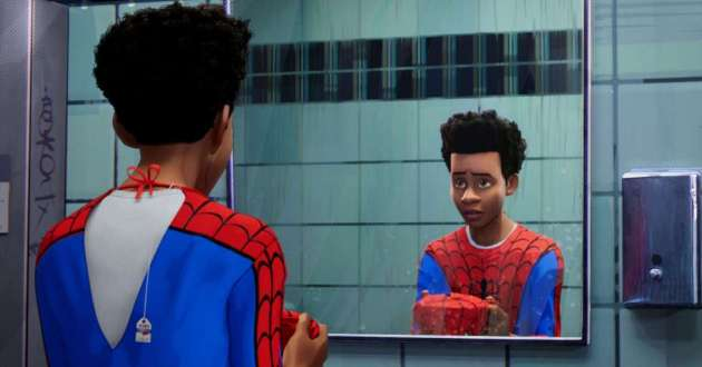 Miles Morales looks into a mirror in the animated film 'Into the Spider-Verse'