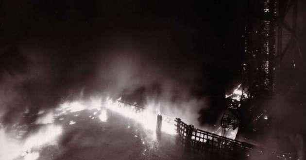 The Cuyahoga River on fire in 1948.