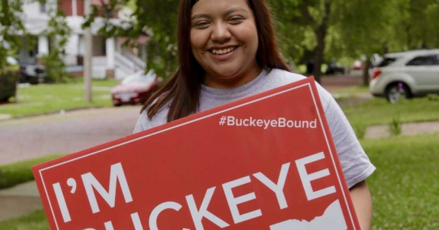 Mariyln Macario, the 2019 valedictorian of Max Hayes High School, headed to The Ohio State University this fall as one of the first Cleveland Metropolitan School District students to take advantage of Say Yes To Education Tuition Assistance. [Kevin Morrissey / ideastream]