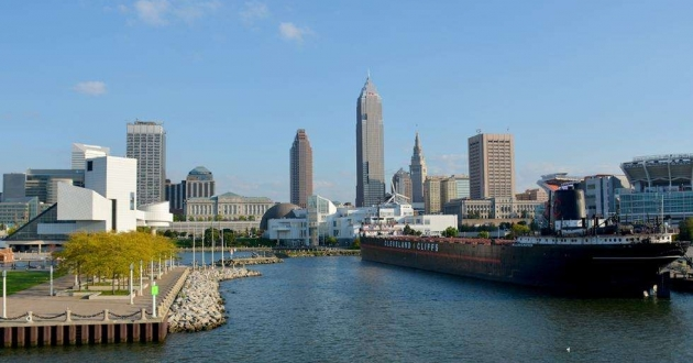 Cleveland's skyline as seen from Lake Erie in 2014. [Nick Castele / ideastream]