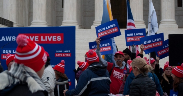 Protesters rally outside the U.S. Supreme Court as the court hears arguments in a Second Amendment case on Dec. 2, 2019. [Matthew Richmond / ideastream]