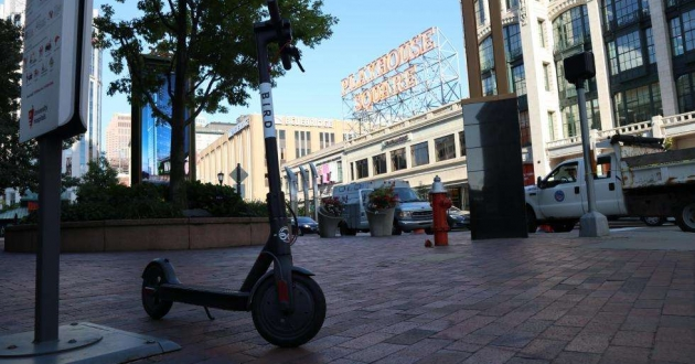 A dockless electric scooter at Playhouse Square in Cleveland.