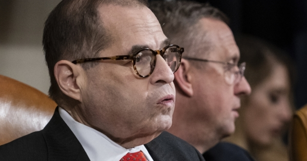 "House Judiciary Committee Chairman Jerry Nadler had adjourned Thursday without a vote on the articles of impeachment. Ranking member Doug Collins (in background) likened the move to a ""kangaroo court."" [J. Scott Applewhite / AP]"