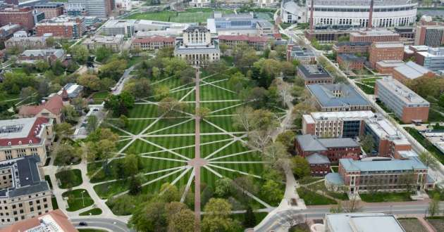 An aerial view of The Ohio State University campus.